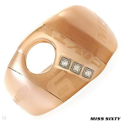 Genine Miss Sixty Ring 0.03ctw Diamonds 14k Rose Gold over Stainless Ste 7.5/O.5