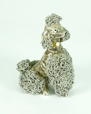 Vintage Ceramic Spaghetti Poodle Figurine Dog Gray Porcelain Hair Fur Art Ware &