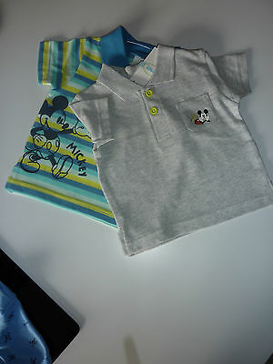 DISNEY 2 Little Boys Mickey Mouse Polo Shirts Size 0-3 Months NWT