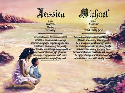 """""""Mother Son 2"""" Double Name Meaning Print Personalized (African-American)"""