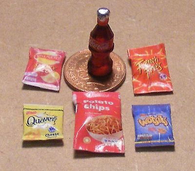 1:12 Scale 5 Packets of Mixed Crisps & A Coke Bottle Dolls House Miniature D