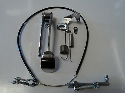 Chrome Spoon Gas Pedal / Black Throttle Cable / Bracket & Spring Combo Deal Kit