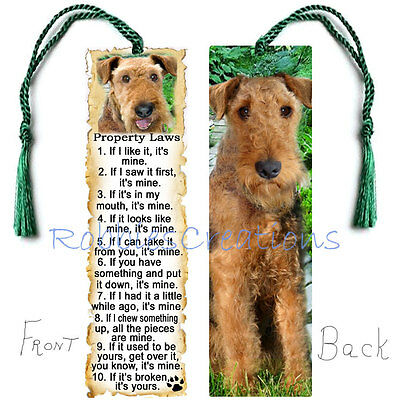 "AIREDALE Terrier Large FUN 6"" BOOKMARK Dog RULES Property Law Art Book Mark Card"