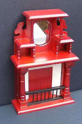 1:12 Scale Ornate Wooden Mahogany Fire Place Dolls House Miniature Fireplace