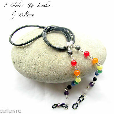 ✫9 Chakra✫ Gemstone And Leather Eyeglass Glasses Spectacles Chain Holder Cord