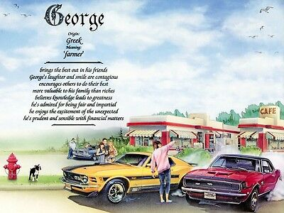 """Muscle Cars"" Name Meaning Prints Personalized"