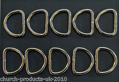 10 x 25mm D-Rings Welded Nickel Plated For Bags,Straps,Dog Leads,Crafts Etc