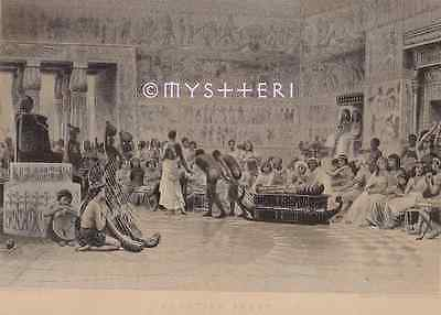 Egyptian Feast-Palace-Egypt-1880 ANTIQUE VINTAGE ART PRINT-Pharaoh On Throne