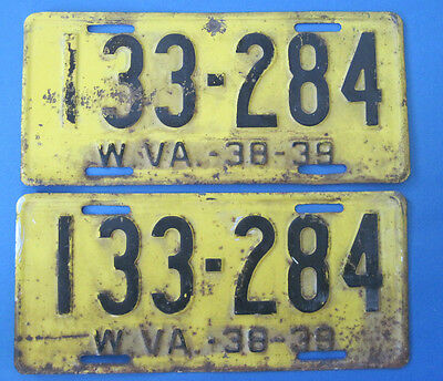 1938-39 West Virginia Matched Pair License Plates