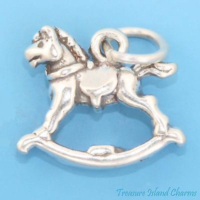 ROCKING HORSE BABY CHILD KIDS TOY 3D .925 Solid Sterling Silver Charm
