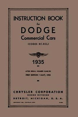 1935 dodge truck owners manual user guide instruction operator book rh picclick com dodge user manual 2011 dodge charger user guide