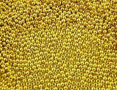 1000Pcs Gold Plated Smooth Ball Spacer Beads 3mm Dia.
