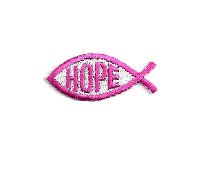 Hope - Faith - Christian Fish - Embroidered Iron On Applique Patch - Crafts