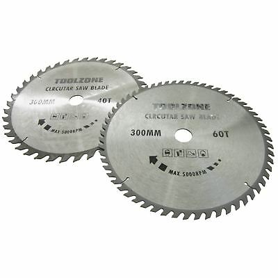 2pc 300mm x 30mm TCT circular saw blades 40 and 60 teeth with adapter ring TE5