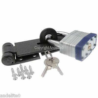 High Security Garage Shed Van Staple Hasp Padlock Lock With Twin Strong Keys NEW