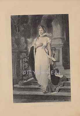 1887 Antique Engraving Art Print-Health And Beauty-Beautiful Victorian Woman-Spa