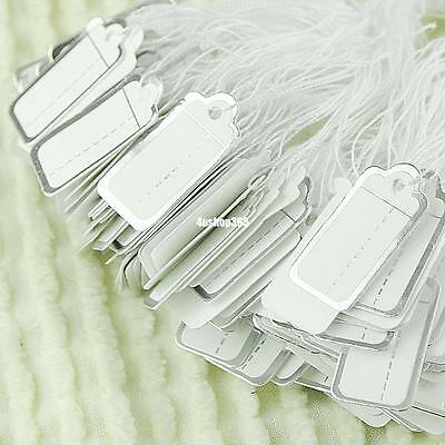 Bulk 500pc Tie String Jewelry Watch Display Price Tags Silver Border White Label
