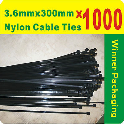 1000 x Black Nylon Cable Ties 3.6mmX 300mm (4 x300mm) Free Postage