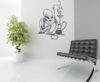 Amusing clever adult wall art Alien Weed Smoker vinyl wall stickers high quality