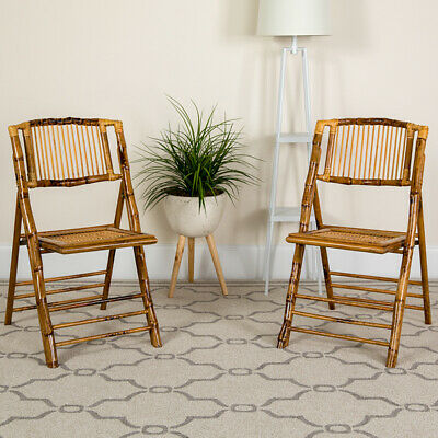 Lot of 4 Bamboo Design Indoor or Outdoor Folding Restaurant Café Chairs