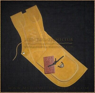 Archery Field Quiver Mustard Lightweight Leather Longbow Arrow Historical Pocket