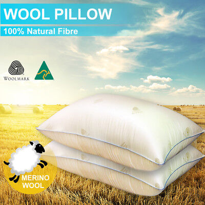 2xAus Made Natrual HealthGuard Wool Pillow-Feather/Down/Latex/Memory Altern