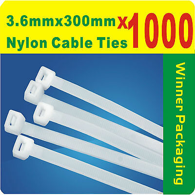 1000 x Natural (White) Nylon Cable Ties 3.6mmX 300mm (4 x300mm) Free Postage