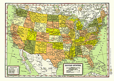 United States 1950s Map Poster Vintage Cities States Rivers Time Zones Canada