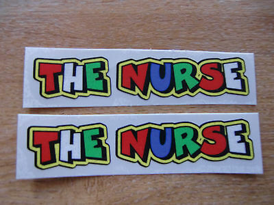 "Valentino Rossi style text - ""THE NURSE""  x2 stickers / decals  - 5in x 1in"
