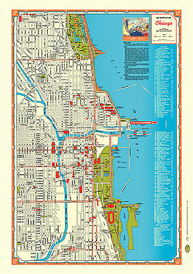 Map Poster Vintage Repro Chicago 1946 Lake Michigan Route 66 Soldier Field