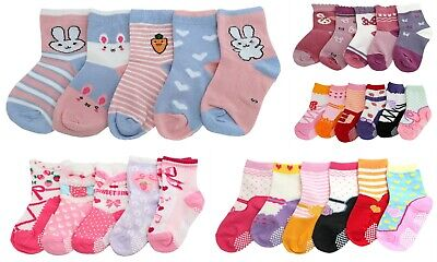 Baby Girl Kids Toddler Ballet Mary Jane Socks 6 pack Anti Slip Pink Age 1 2 3 4