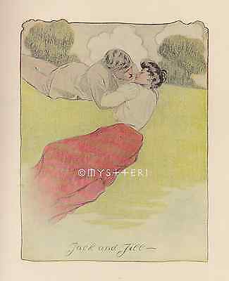 Jack & Jill Kiss Down The Hill-Love-Mother Goose-1905 ANTIQUE VINTAGE ART PRINT