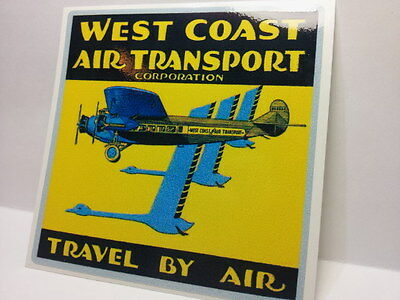 West Coast Air Transport Vintage Style Travel Decal, Vinyl Sticker,Luggage Label