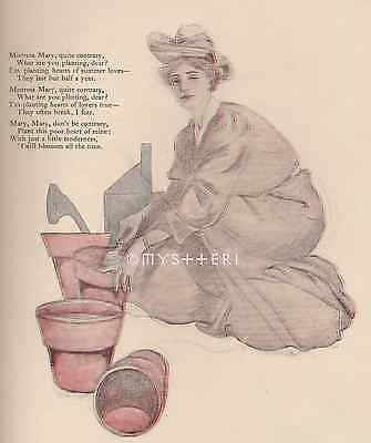 Mistress Mary Quite Contrary-Victorian Rhyme-Poem-1905 ANTIQUE VINTAGE ART PRINT