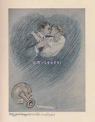 Jack Jumped Over The Candlestick To Kiss Woman-1905 ANTIQUE VINTAGE ART PRINT