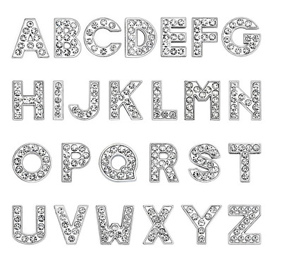 130pcs A-Z DIY Slide Letters With Rhinestone Alphabet Charms Fit Pet Name Tags