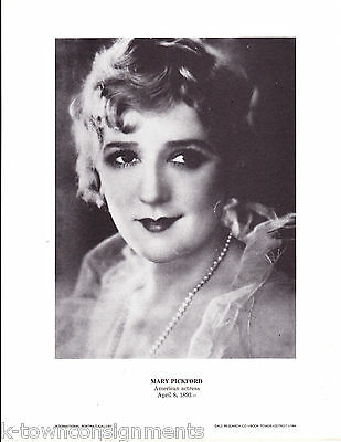 Mary Pickford American Actress Vintage Portrait Gallery Poster Photo Print