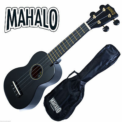 MAHALO Black Soprano Ukulele MR1 inc Carry Bag Aquila Strings Fitted *New* Uke
