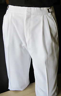 Mens White 42-44 Long Adjustable Waist Tuxedo Pants Wedding Prom Discount