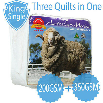 KING SINGLE-Aus Made All Seasons 200+350GSM Luxury 100% Merino Wool Quilt