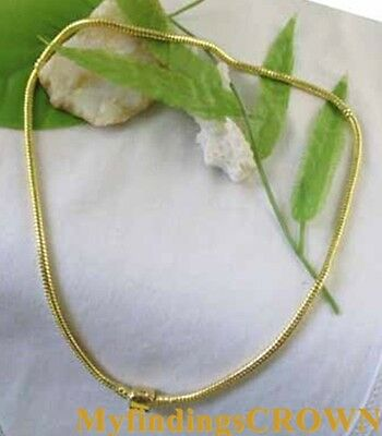 3PCS Gold plated Clip Necklaces Fit Bead Charm W3301