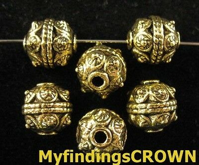 25PCS Antiqued gold motif crafted ROUND spacers FC749