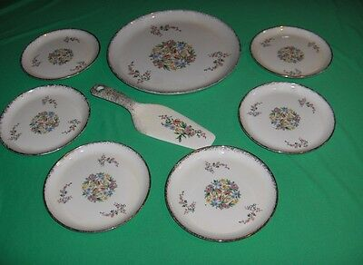 Vintage 8 Pc Set Royal China USA Orange Tiger Lily Floral Cake Set 22 K Gold