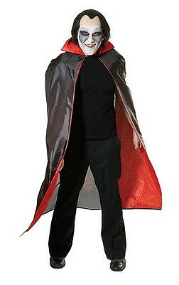 "Dracula Black Vampire Cape With Red Lining 50"" Halloween Men's Fancy Dress"