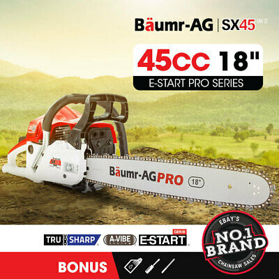 "NEW Baumr-AG 45cc Petrol Chainsaw Commercial 18"" Bar Chain Saw E-Start Pruning"
