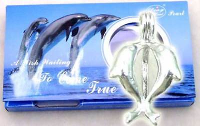 SALE One Box double dolphin pendant Wish Pearl Necklace gift set-3622 Free ship