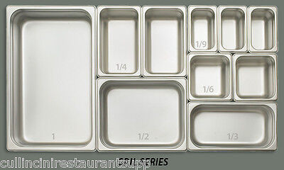 ONE each Stainless Steel Pan Steam Food Hotel insert NSF Listed 18/8