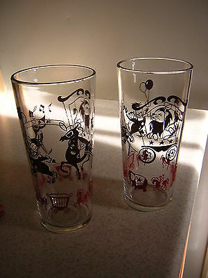 Vintage Child's Circus Drinking Glasses set of 2