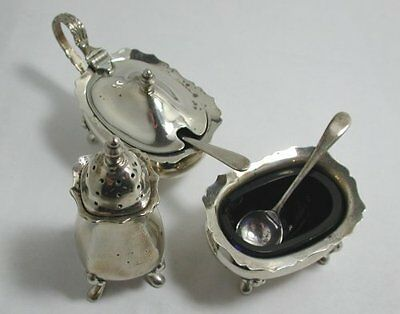 Beautiful Full Hallmarked 1972 Solid Silver Serving Set With Original Blue Glass