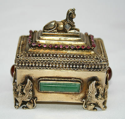 Magnificent French 935 Sterling Silver Ruby, Jade, Amber Box